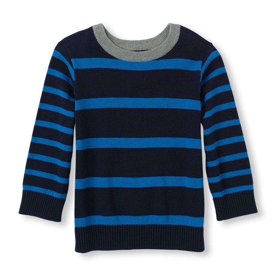 The Childrens Place Baby Boys Big Long Sleeve Stripe Sweater