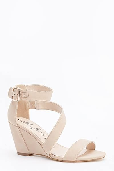 Womens Ladies Nude Wedge Heel Summer Strappy Shoes Sandals Size UK ...