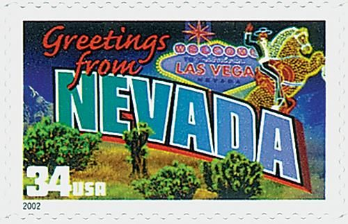 3588 2002 34c Greetings From America Nevada Commemorative