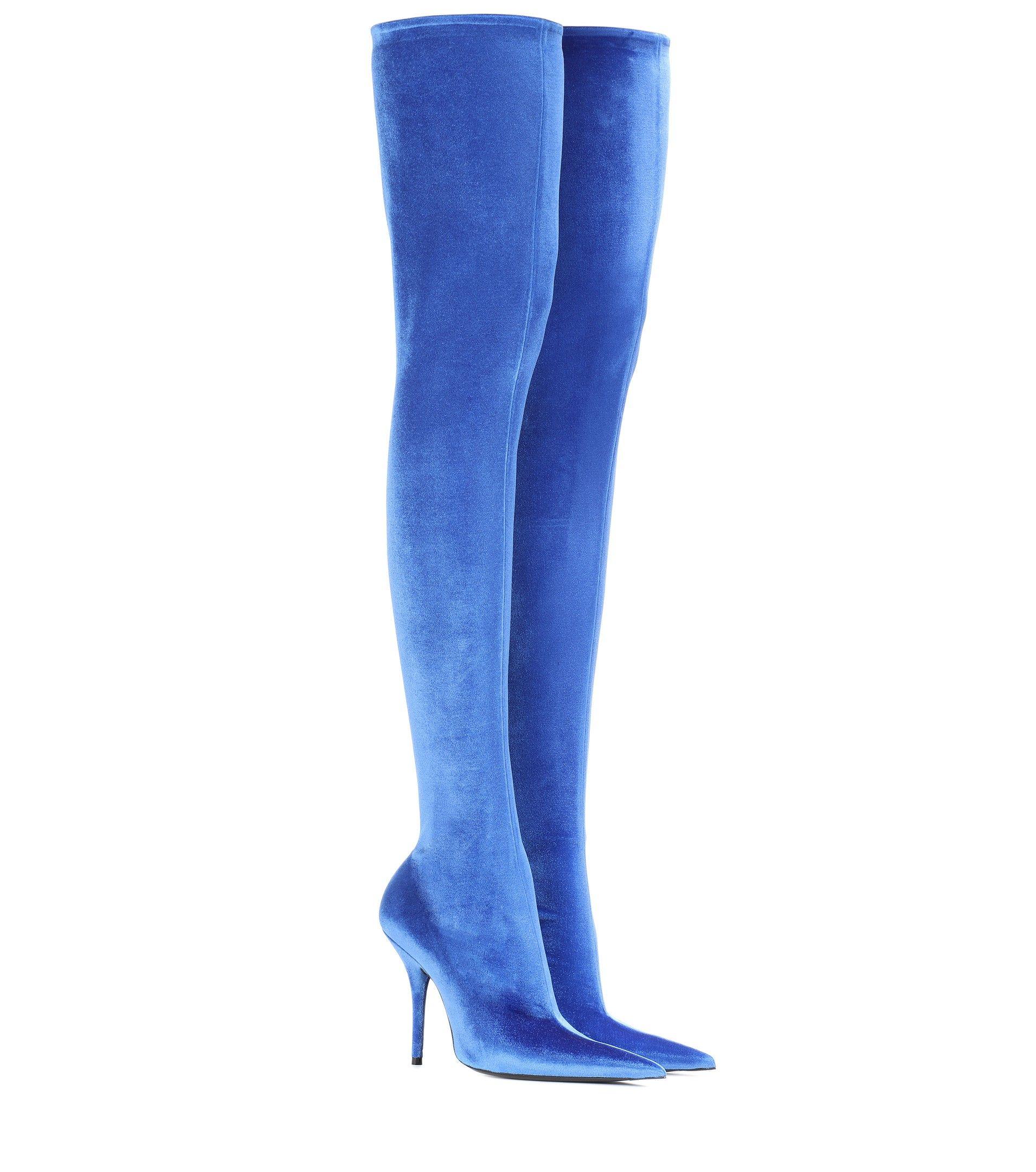 a2a4781ce836 BALENCIAGA Knife Blue Velvet Over-The-Knee Boots   1