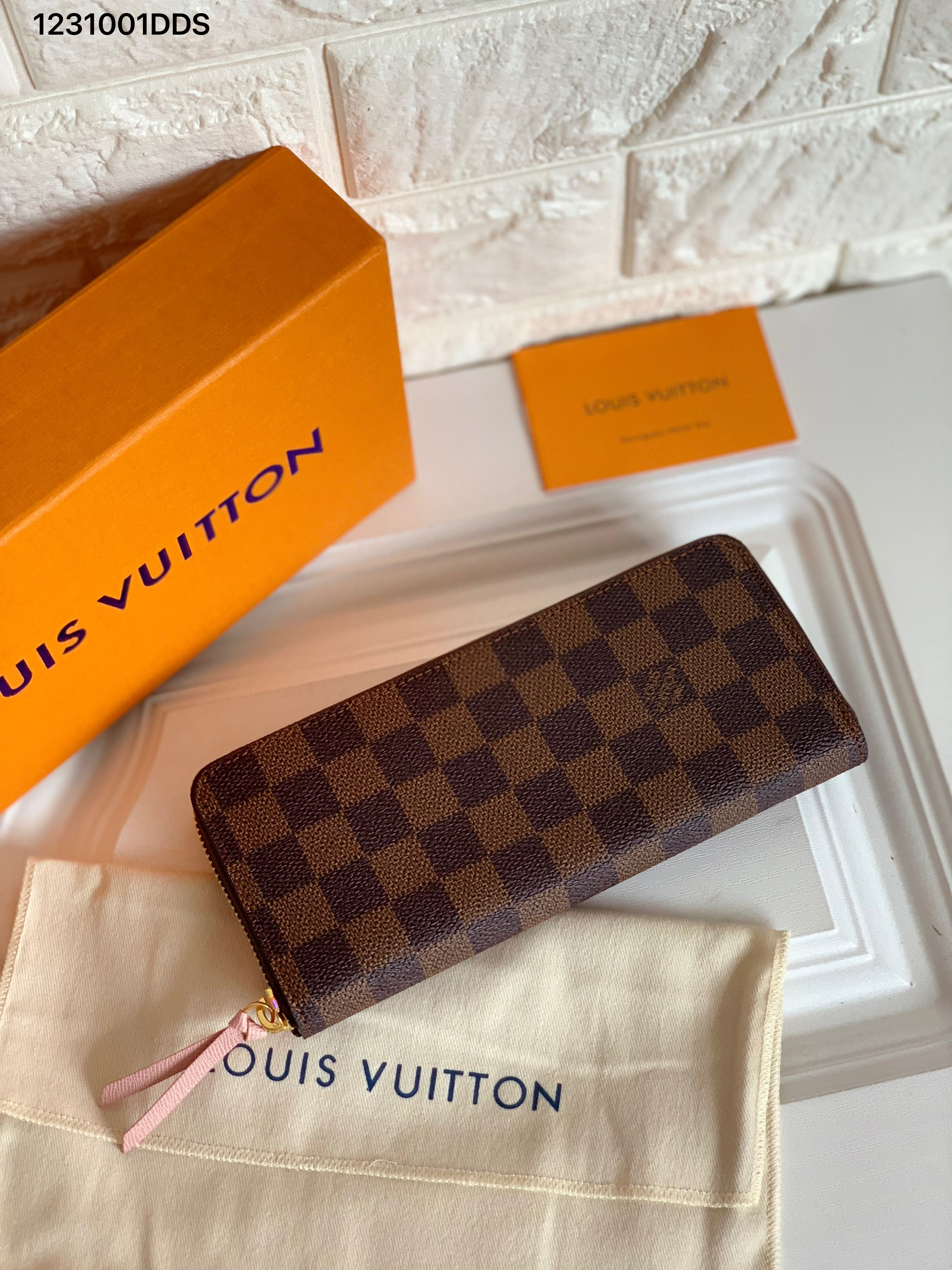 Louis Vuitton Lv Woman Clemence Wallet Brown Checks Damier Ebene With Pink In Louis Vuitton Clemence Wallet Louis Vuitton Wallet Women Louis Vuitton Collection