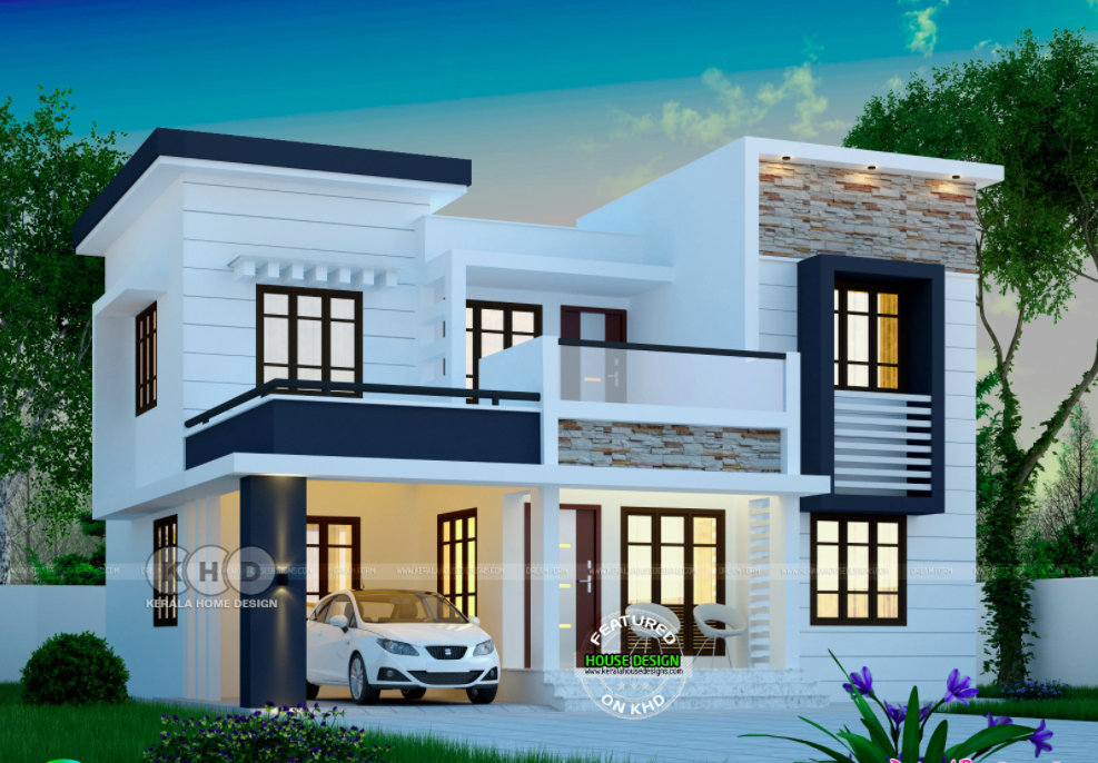 1748 Square Feet Modern 4 Bedroom House Plan Exterior House Remodel Kerala House Design Duplex House Design
