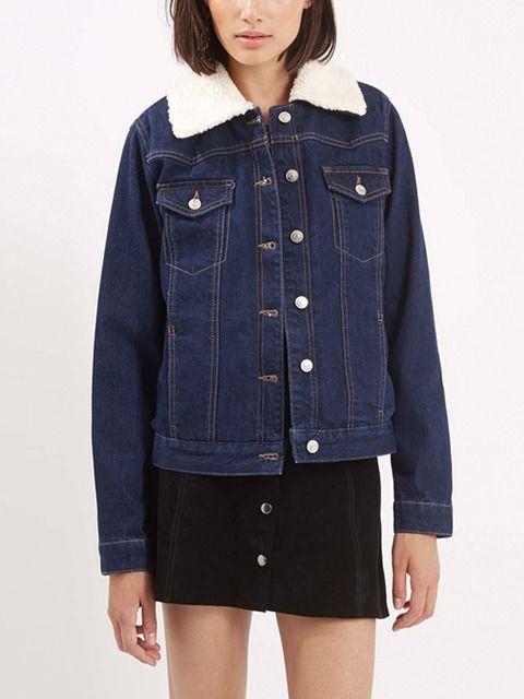 0ed59455bd83 Plus Denim Jacket: button-up front, faux fur collar, dark wash blue ...