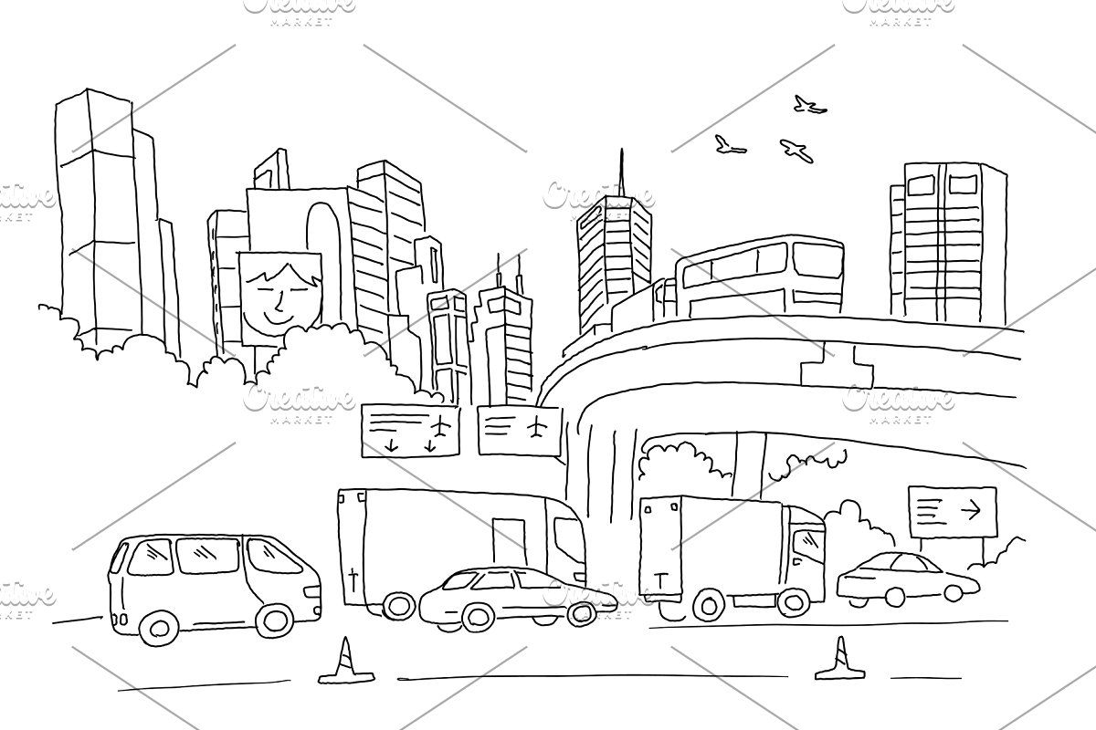 City Panorama With Road Transport And Skyscrapers Sketch Drawing By Hand Hand Drawn Black Line Vector Illustration In 2020 Vector Illustration Drawings Skyscraper