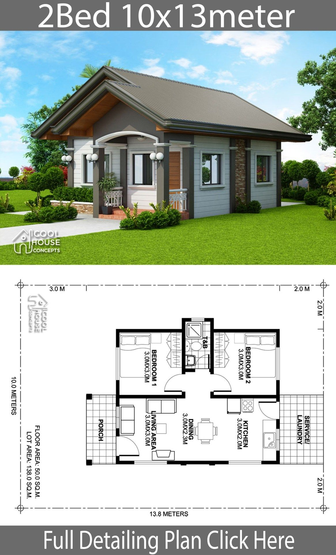 Home Design Plan 10x13m With 2 Bedrooms My House Plans Simple