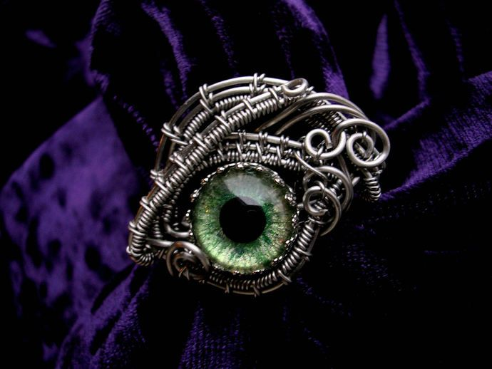 Custom Steampunk Gothic - Dragon Evil Eye - Ring - Silver Blue Purple Beholder Kin - Color shift - Hand Painted dark creepy Wire by LadyPirotessa, $46.77 USD