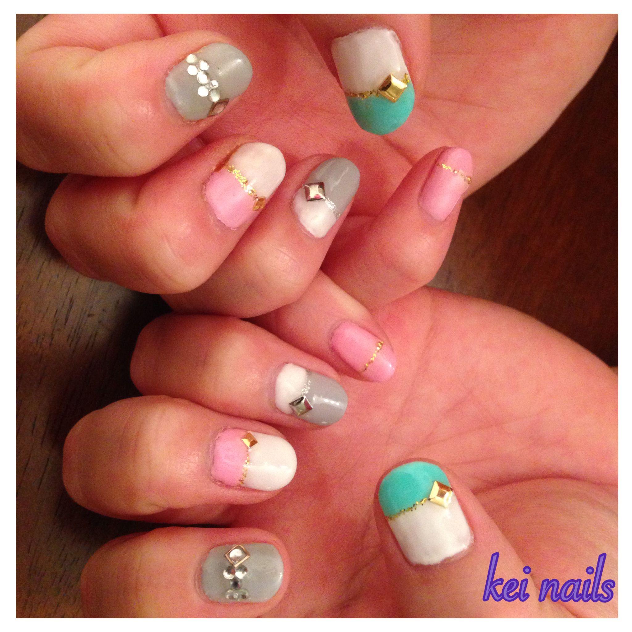Self Gel Nail Pastel Color W Gems