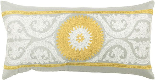 RugStudio presents Rizzy Pillows T3425b Gray / Yellow