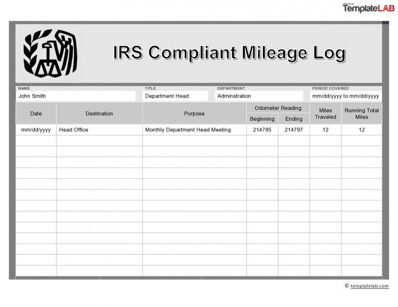 Download Irs Compliant Mileage Log Report Template Templates Professional Templates