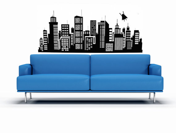 Superhero Wall Art Super Hero Decal Superman Decal Gotham - Superhero vinyl wall decals