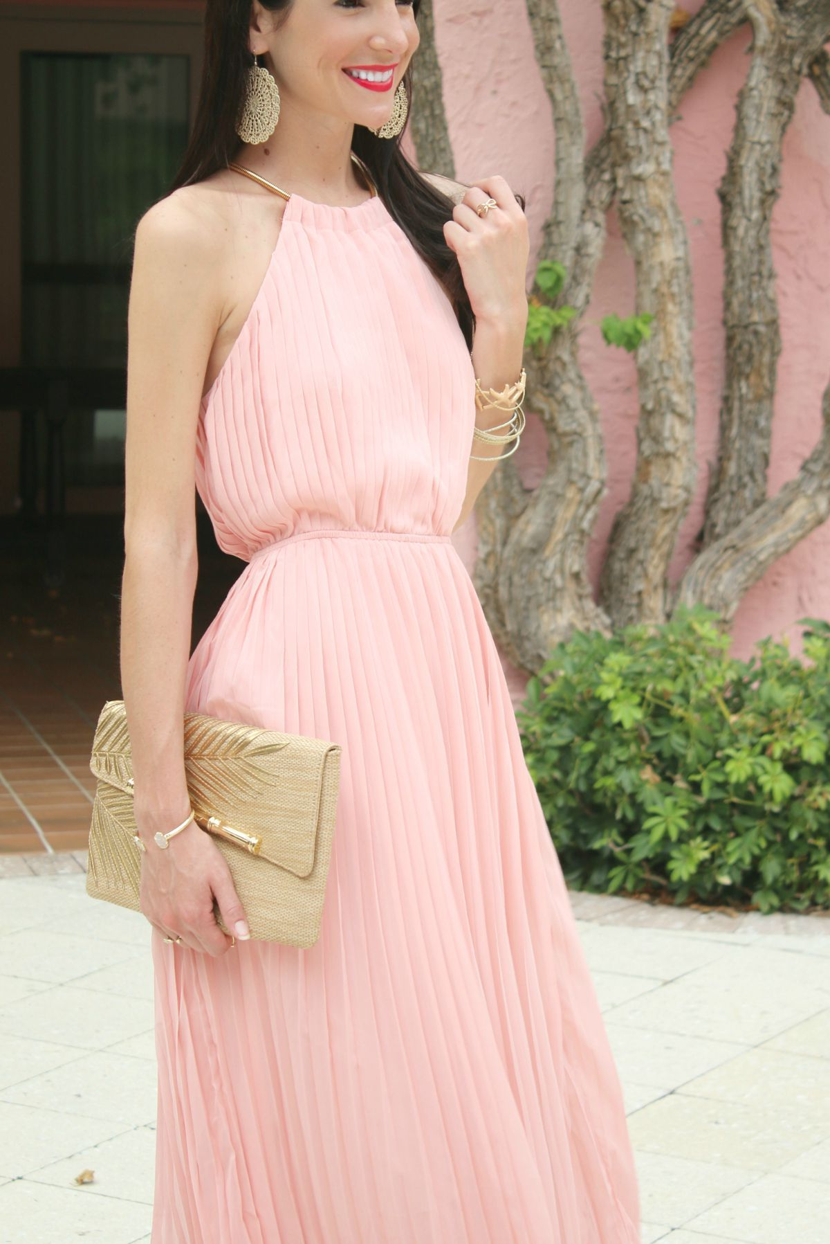 Sheinside pink pleated maxi dress in boca raton pink maxi gold