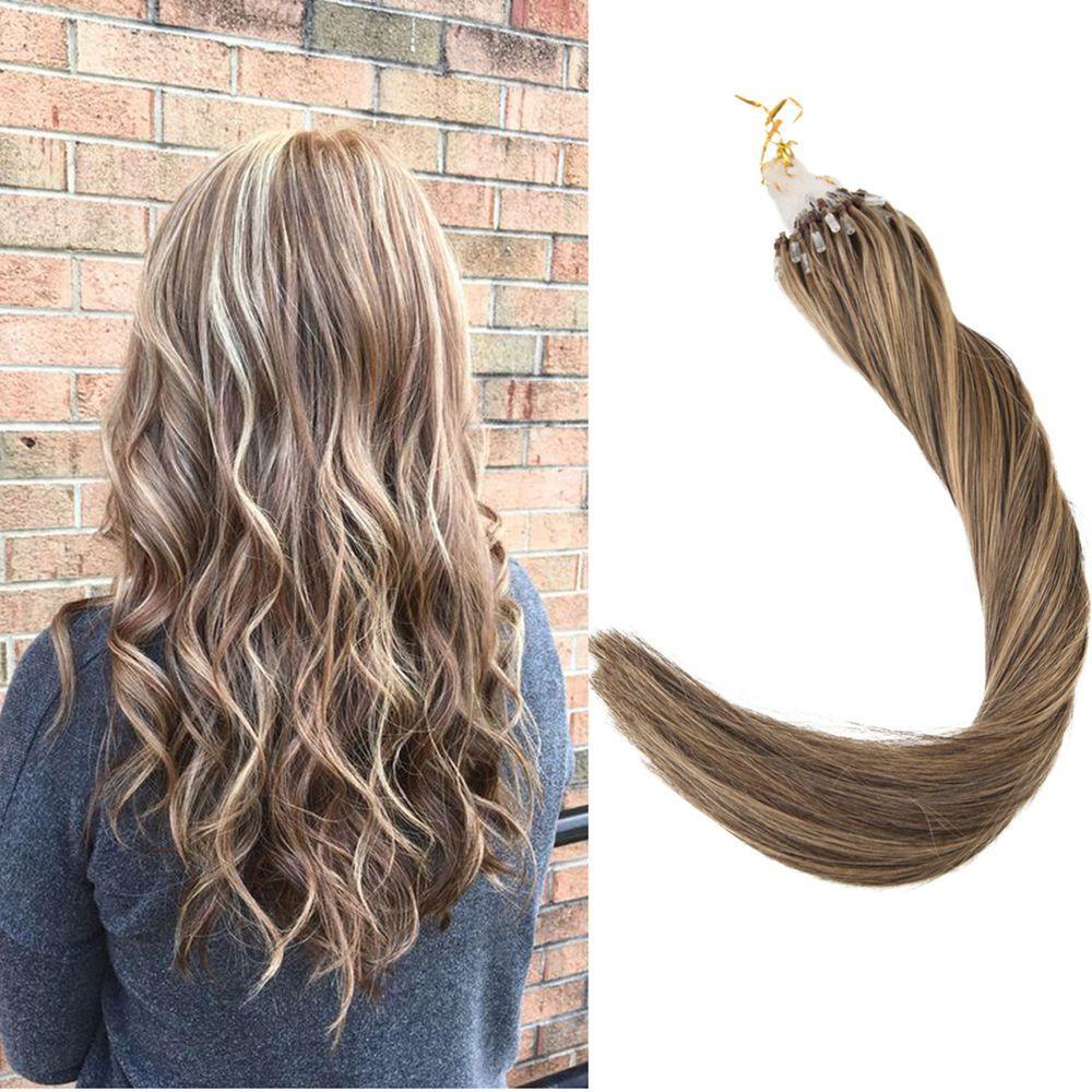 Micro Ring Loop Hair Extensions Honey Blonde Highlight