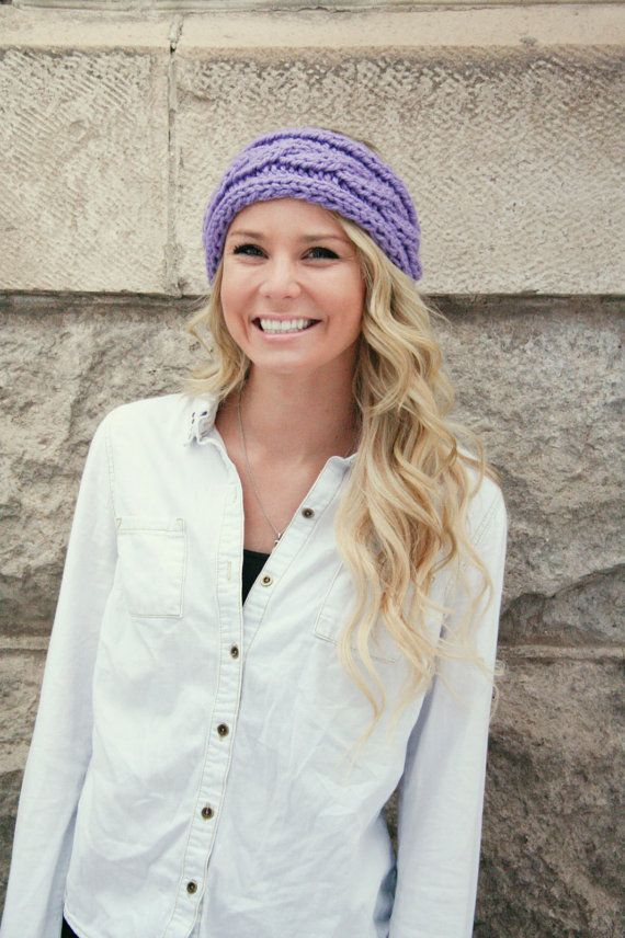 Cable Knit Headband Ear Warmer In Lavender Orchid By Cablemecozy