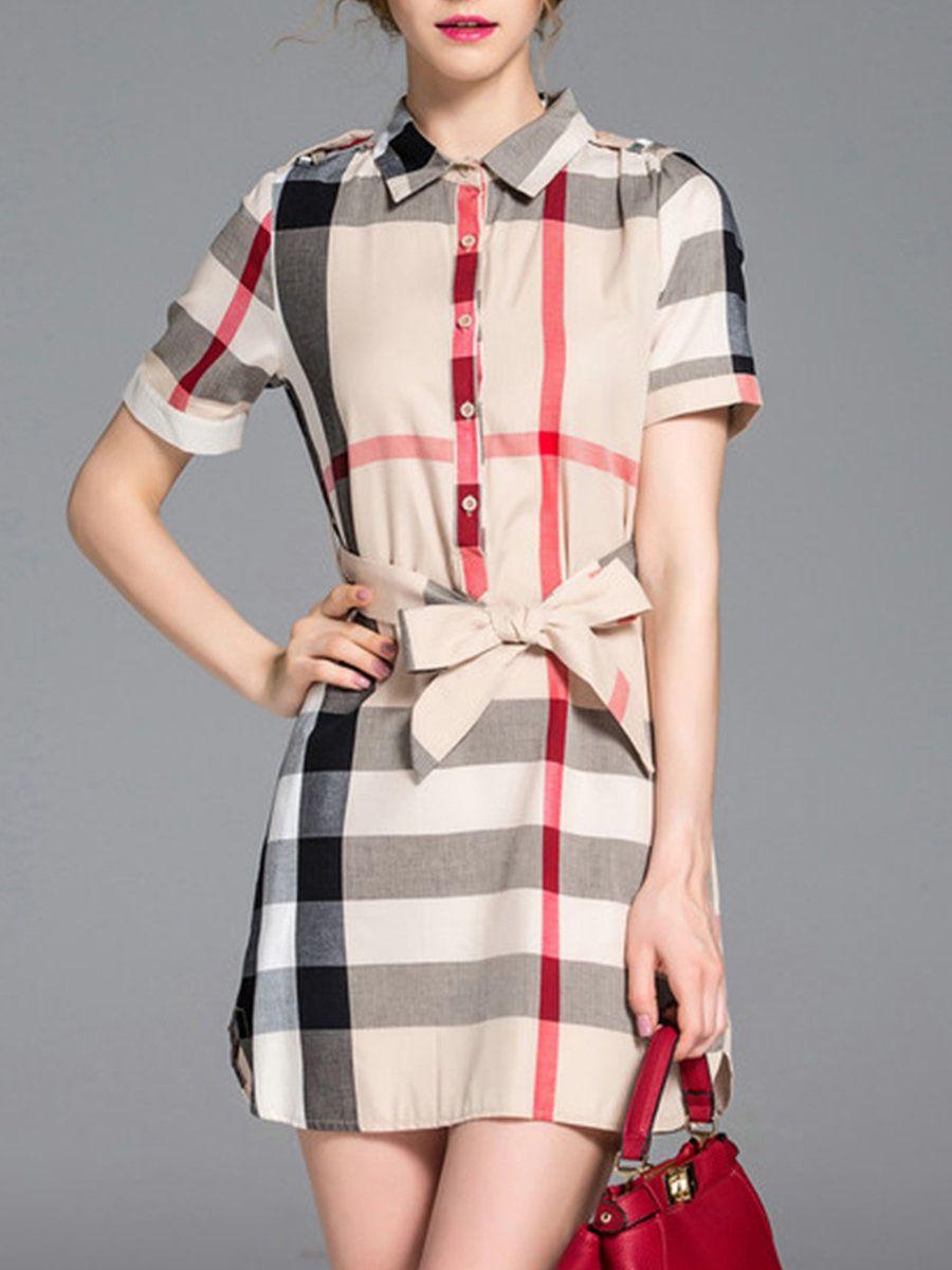 Stylewe Shirt Collar Khaki Midi Dress Daily Dress Short ...