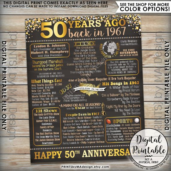 50 Years Married Gifts Part - 42: 50th Anniversary Gift 1967 Poster 50 Years USA By PRINTSbyMAdesign