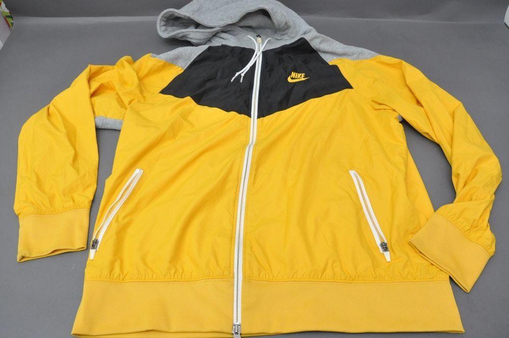 Men S Nike Windbreaker Hoodie 324321 717 Black Maize Yellow Grey Vintage Size Xl Nike Hoodie Nike Windbreaker Windbreaker Nike Men