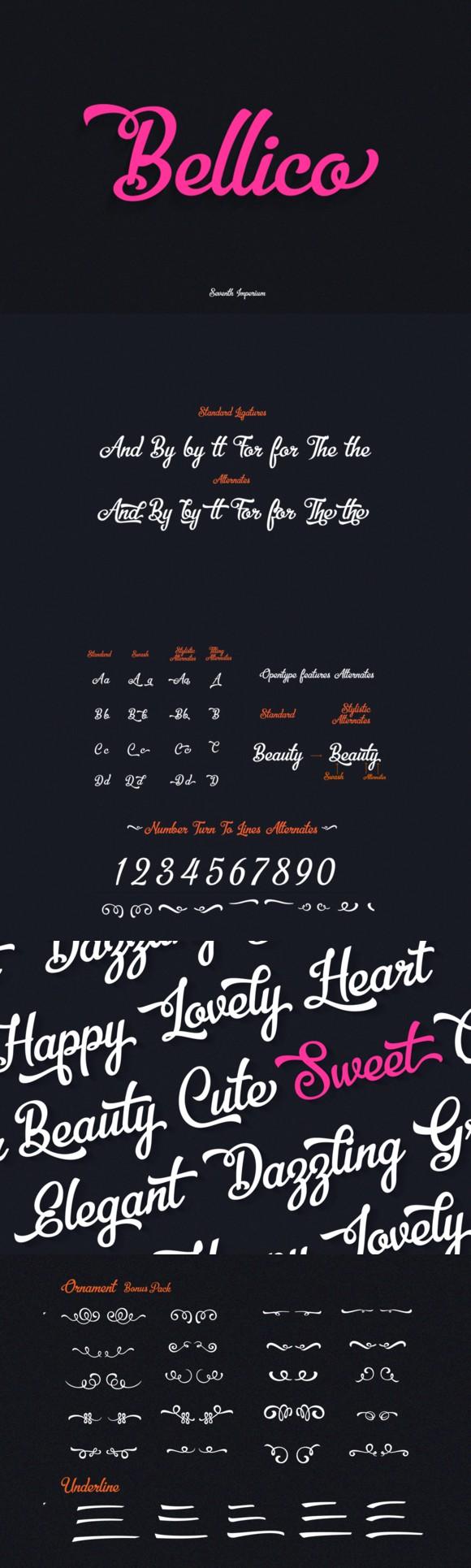 Download Bellico Typeface +Bonus Pack. Script Fonts. $19.00 ...