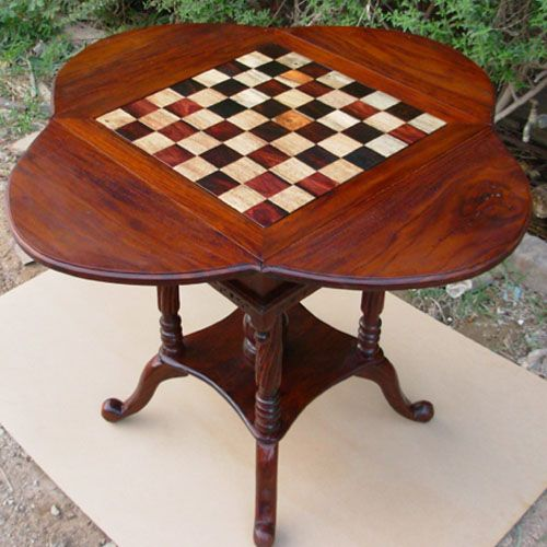 Solid Wood Round Card Chess Checkers Board Table