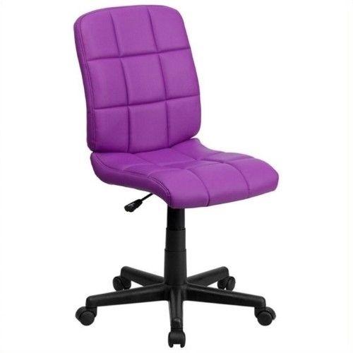 Scranton & Co Faux Leather Mid-Back Office Chair In Purple