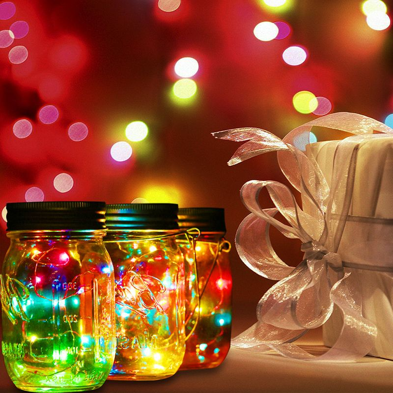 Solar Lid Light Wholesale Part - 27: Christmas Decor Color Changing Fairy Light 3 Pcs Solar Mason Jar Light With  White LED For Glass Jars Party Decor Solar Lights