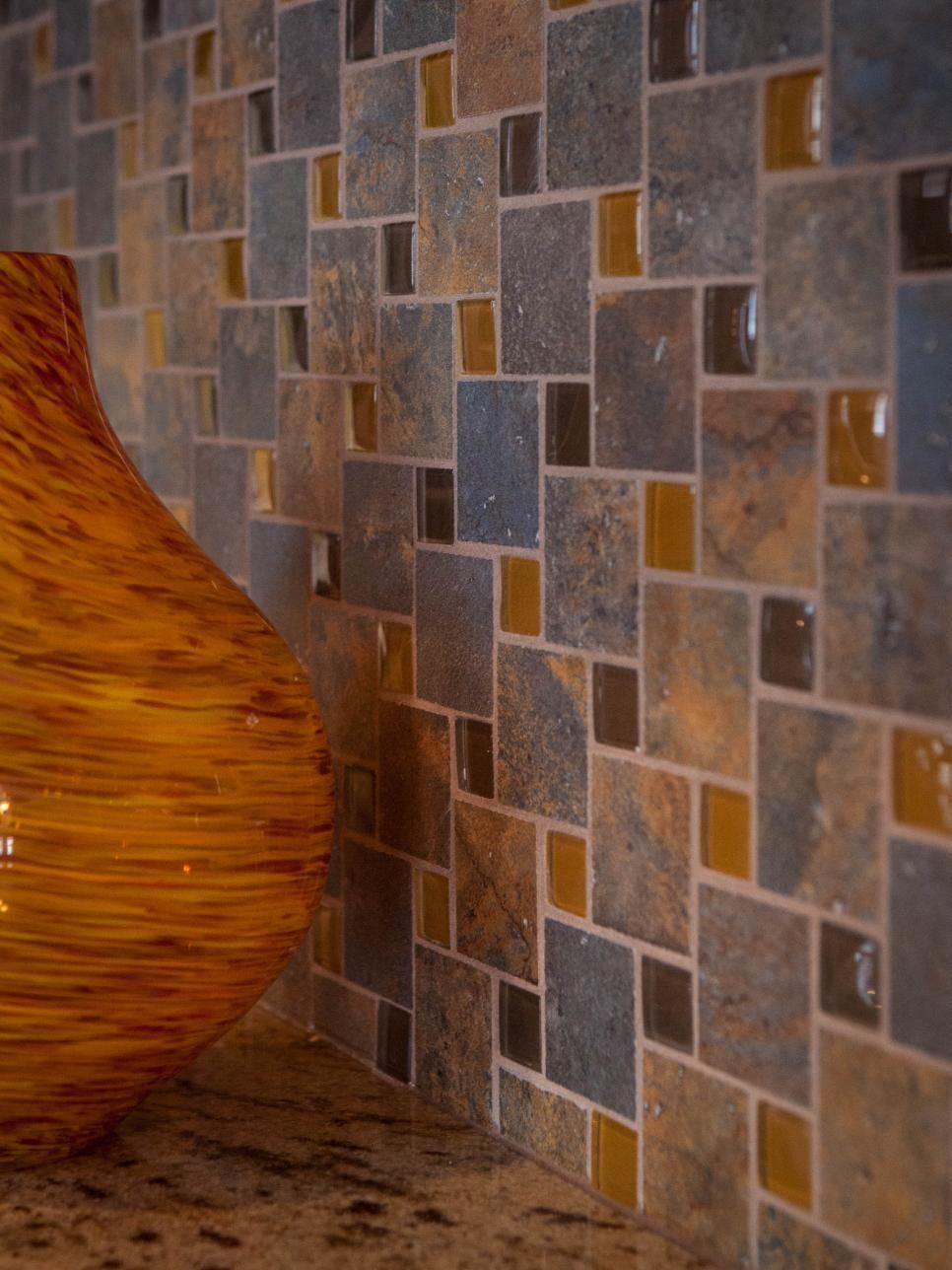 A natural slate and glass tile backsplash is a colorful easy to a natural slate and glass tile backsplash is a colorful easy dailygadgetfo Choice Image