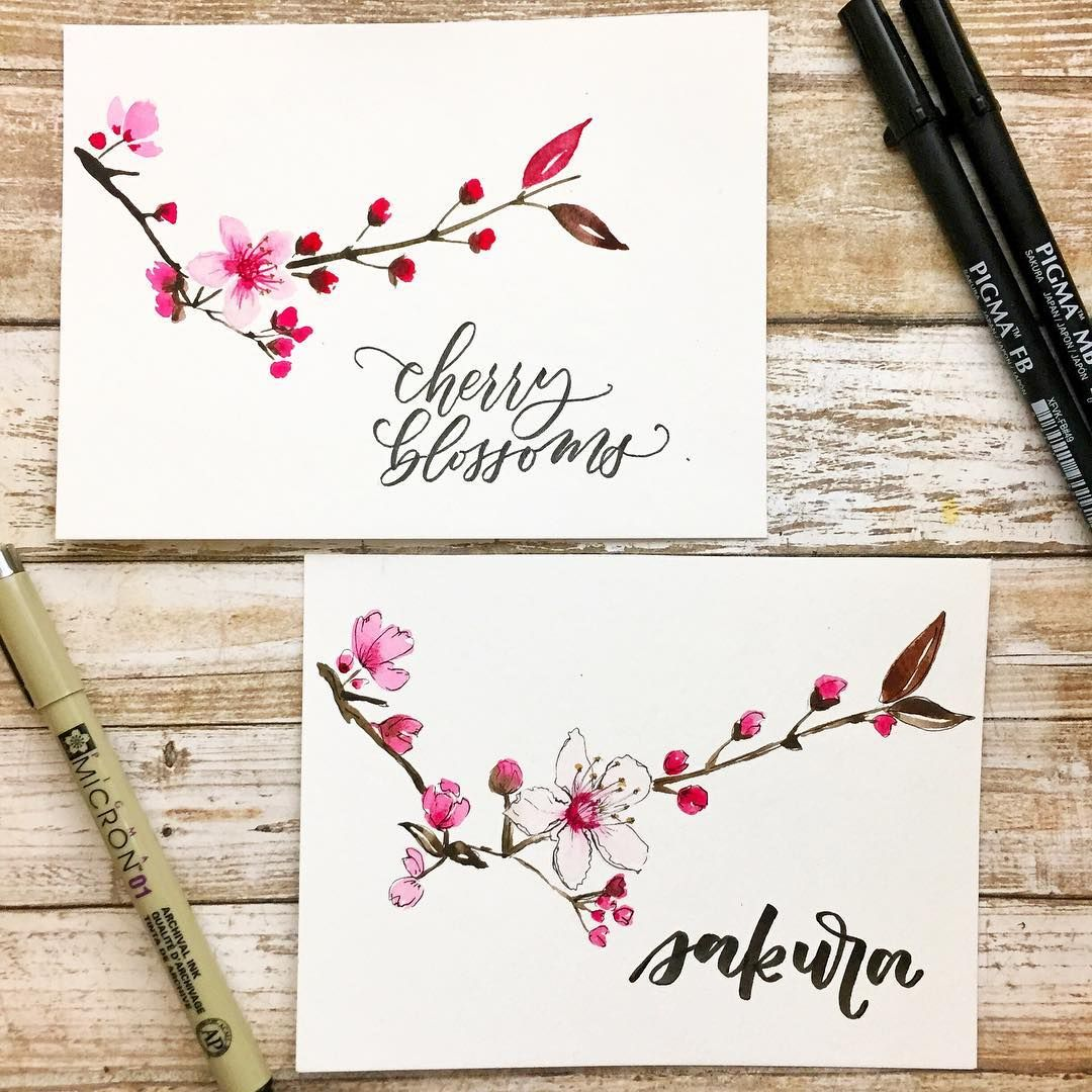 Jeshypark Again Did You Know That Sakura Is The Japanese Word For Cherry Blossom I Wanted To Create Cherry Blossom Art Hand Lettering Fonts Cherry Blossom