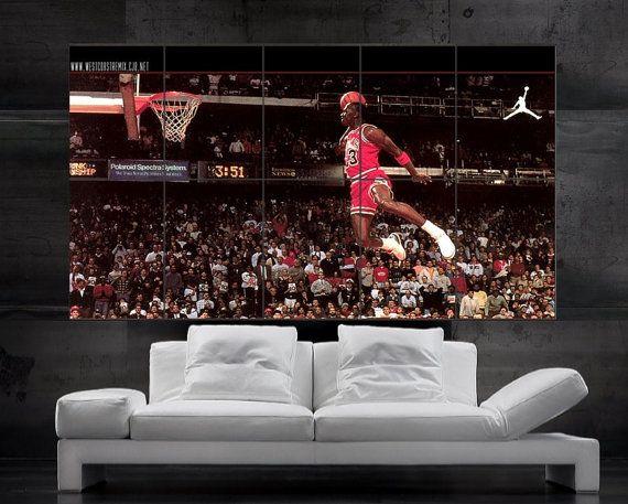 Michael Jordan Mj Air Jordan Poster Print Wall Art 10 Parts Giant Huge Hh12249 S53 Jordan Poster Poster Prints Wall Art Prints