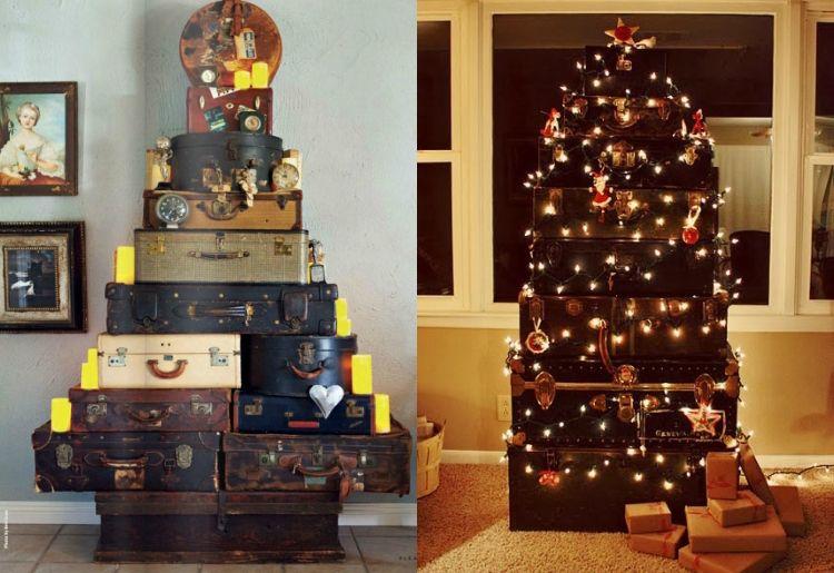 Alter Koffer Deko Weihnachten Turm Weihnachtsbaum Lichterkette # Weihnachtsdeko #ideen #suitcase #vintage