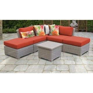 Coast 6 Piece Outdoor Wicker Patio Furniture Set 06f (Tangerine), Orange, TK Classics(Resin Wicker), Outdoor Seating, Patio Furniture