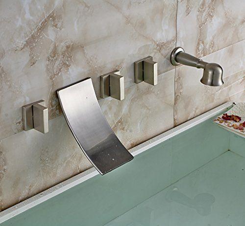 Oulantron 5pcs Widespread Bathtub Mixer Tap Waterfall Spout Faucet ...