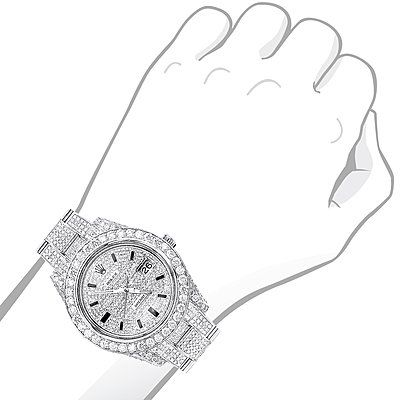This fully Iced Out Diamond Rolex Watch for Men Datejust
