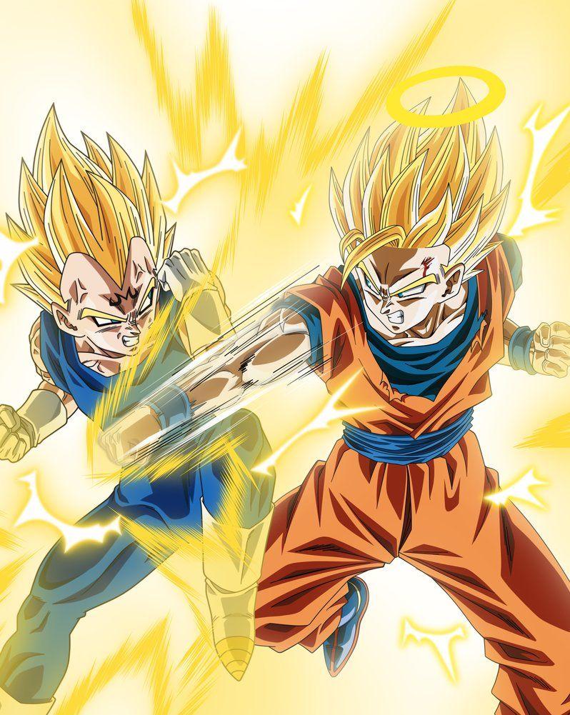 Majin Vegeta Vs Ssj 2 Goku By Victormontecinos Dragon Ball Super