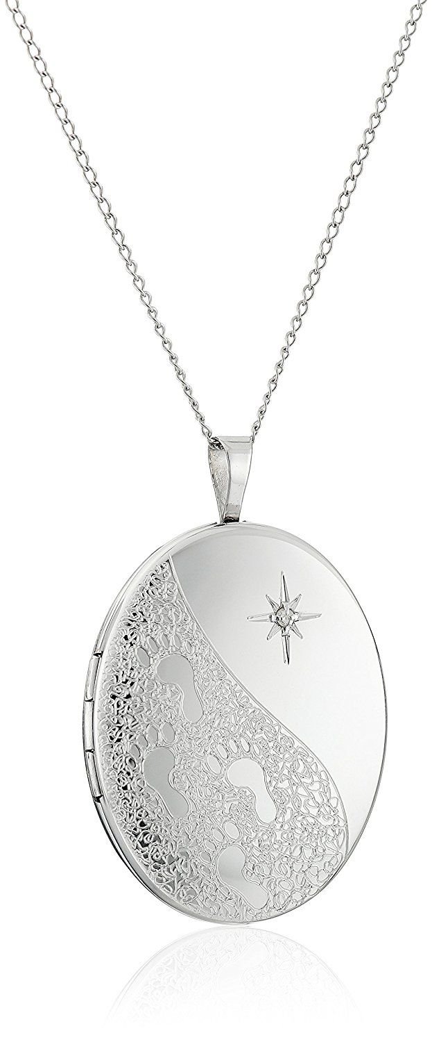 27d487293 Sterling Silver and Diamond Footprints in the Sand Oval Locket Pendant  Necklace >> Stop everything and read more details here! : trend jewelry 2016