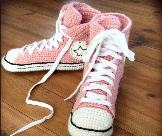 6f80e6c7ccf5 Crochet Converse Slippers Free Pattern Video Tutorial