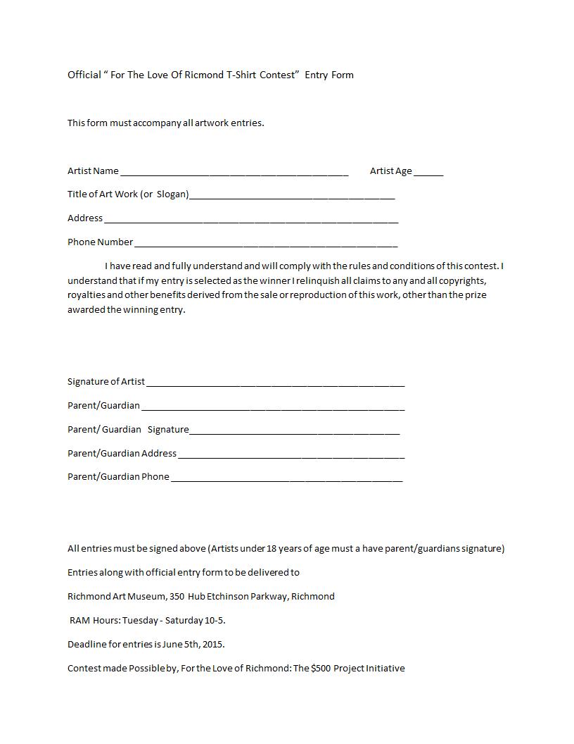TShirt Contest Entry FormDocx  For The Love Of Richmond TShirt