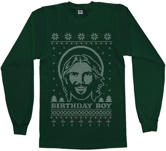 97055fd3 Birthday Boy Jesus Ugly Christmas Sweater Men's Short Sleeve or Long Sleeve  T-Shirt