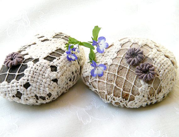 Crochet  lace stone  Nature decorated 2 river pebble by MINTOOK, $32.00
