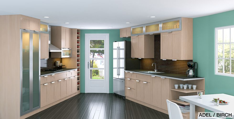 horizontal cabinets with glass doors above vertical cabinets maybe