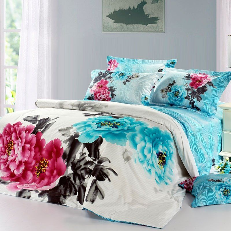 Aqua Black Red And White Watercolor Flower Print Oriental Inspired Full Queen Size Bedding Bedspread Bed Bedding Sets Purple Bedding Sets King Bedding Sets
