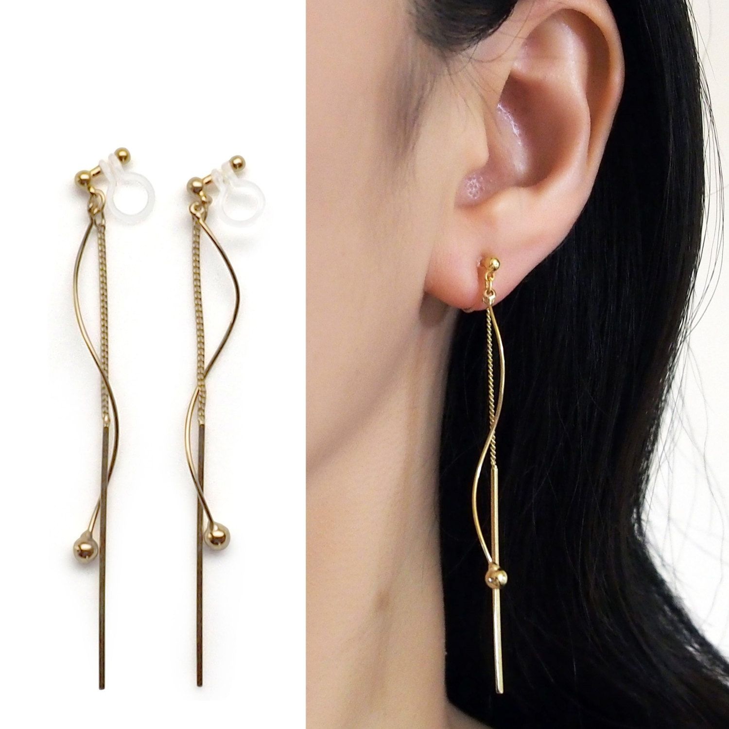 Dangle Gold Threader Bar Invisible Clip On Earrings By Miyarace