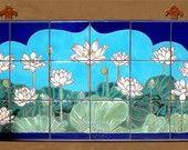 18x18 Lotus Mandala Hand Glazed Decorative Tile Mural. $275.00, via Etsy.