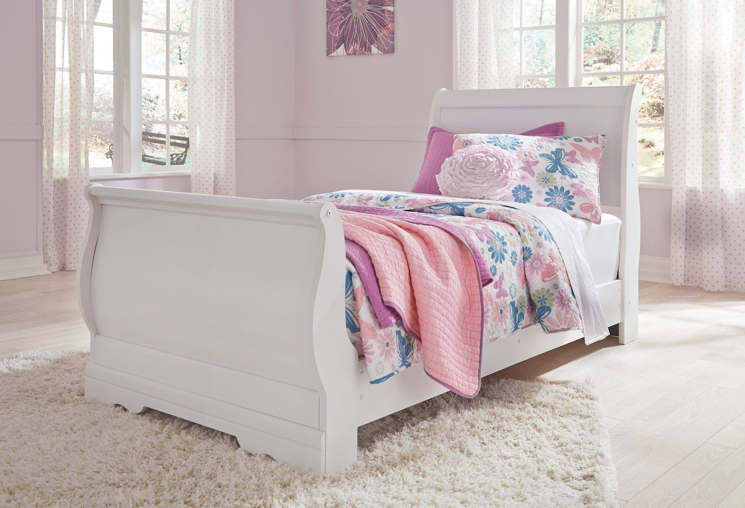 Ashley Anarasia Full Sleigh Bed In White ** Click image