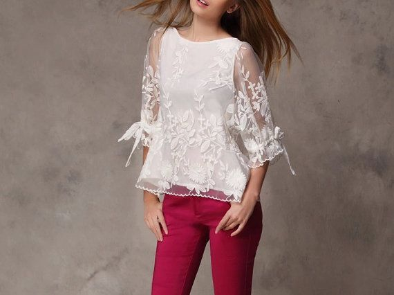 White shirt Chiffon Blouse tulle shirts by happyfamilyjudy on Etsy $79.99
