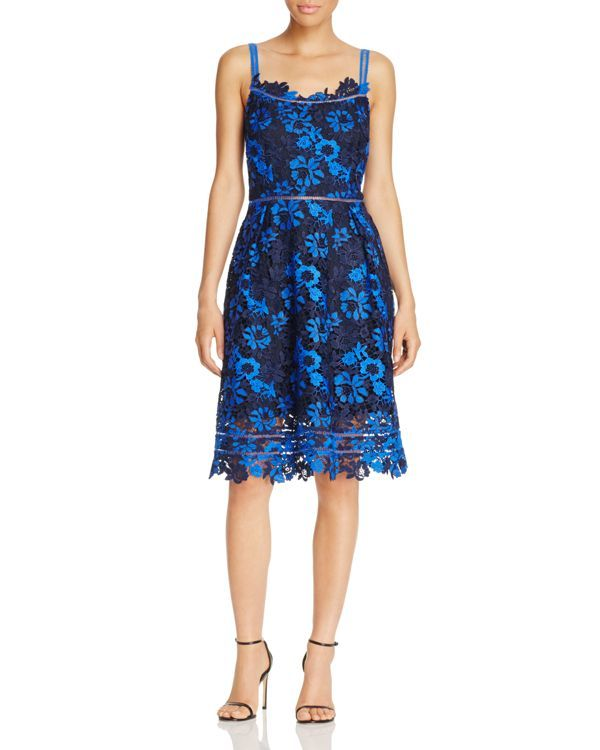 74d4495ff5 T Tahari Womens Lucile Ladder Stitch Floral Lace Semi-Formal Dress