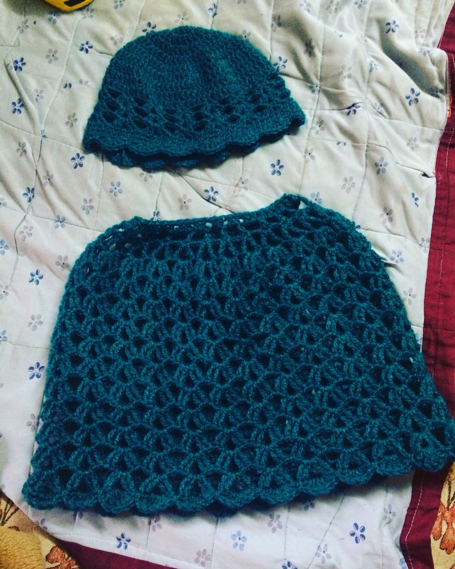Crochet Lacy Shells Poncho & Hat, Free pattern, quick, easy