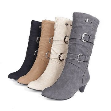US Größe 5 12 Damens Mid calf Stiefel Slip Suede On Casual Suede Slip Soft Stiefel ... dfb5fc