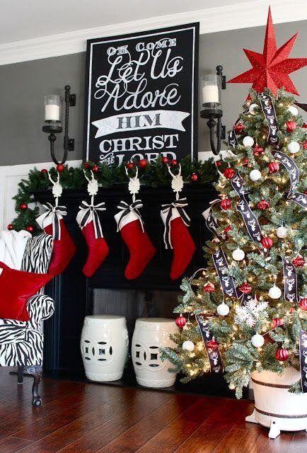Black And White Christmas Mantel Decor Christmas Mantel Oh Come
