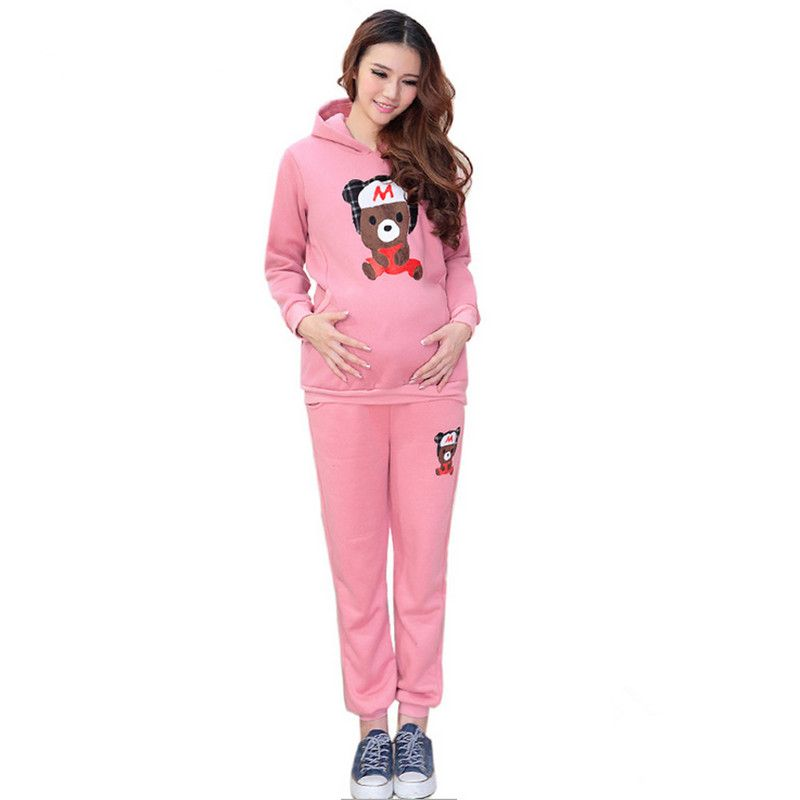 (Buy here: http://appdeal.ru/3uo ) Maternity underwear autumn and winter guard sub-piece cartoon bear baby sports suit hoodies pregnancy clothes for pregnant women for just US $43.98