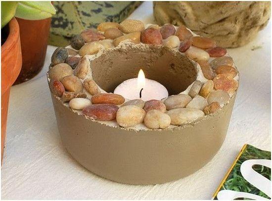 Kerzen Garten Deko Steinen Garden Pinterest Garten deko - steine im garten selbst gemacht
