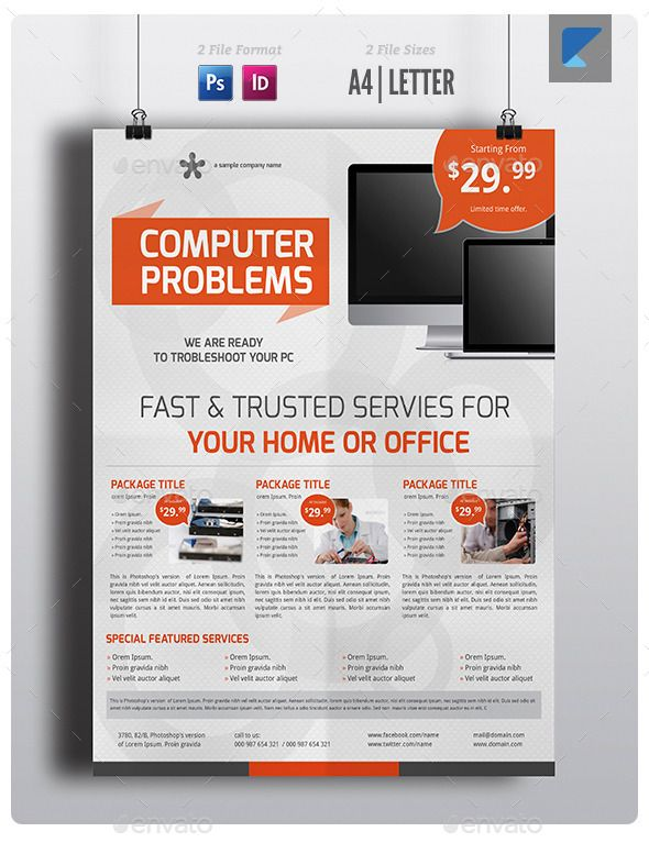 Computer Service Flyer V5 Psd Template Multi Purpose Editable Clean Flyer Flyer Template Computer Repair